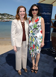 Ann Curry looked all set for summer in a floral dress and black T-strap platform sandals during the American Pavilion opening in Cannes.