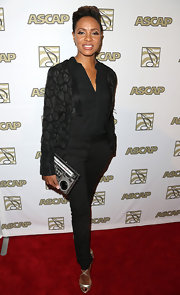 MC Lyte rocked a monochromatic look, which she topped off with a printed black blazer.