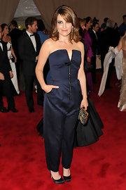 Tina Fey tried a more daring look in a navy blue strapless jumpsuit.