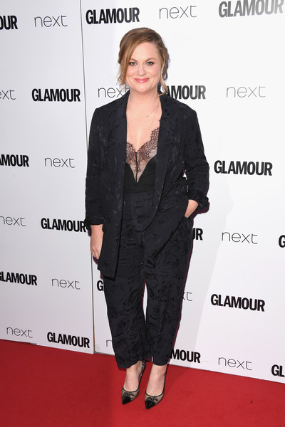 Amy Poehler Pantsuit [suit,clothing,formal wear,pantsuit,hairstyle,carpet,premiere,red carpet,tuxedo,outerwear,amy poehler,glamour women of the year awards,awards,england,london,berkeley square gardens,red carpet arrivals,glamour women of the year]