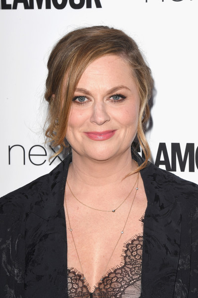 Amy Poehler Messy Updo [hair,hairstyle,eyebrow,chin,blond,lip,forehead,long hair,premiere,layered hair,amy poehler,glamour women of the year awards,awards,england,london,berkeley square gardens,red carpet arrivals,glamour women of the year]