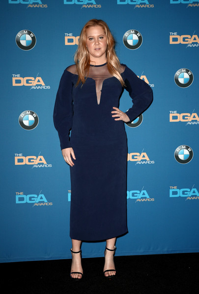Amy Schumer Cocktail Dress [amy schumer,cobalt blue,clothing,dress,electric blue,premiere,carpet,little black dress,cocktail dress,style,directors guild of america awards,room,press room,beverly hills,california,the beverly hilton hotel]