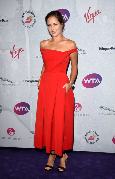 Ana Ivanovic Strappy Sandals [wta pre-wimbledon party,dubai duty free,dress,clothing,shoulder,red,cocktail dress,hairstyle,strapless dress,joint,pink,premiere,london,england,kensington roof gardens,ana ivanovic]