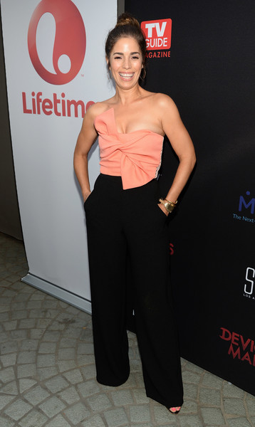Ana Ortiz Jumpsuit [devious maids,tv guide,clothing,premiere,hairstyle,fashion,shoulder,waist,dress,carpet,event,model,ana ortiz,mewe,los angeles,ca,westwood,lifetime,stk,season four premiere]