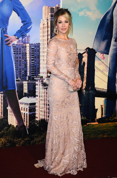 Christina Applegate took our breath away with this mauve lace-overlay gown by Emilio Pucci during the premiere of 'Anchorman 2.'