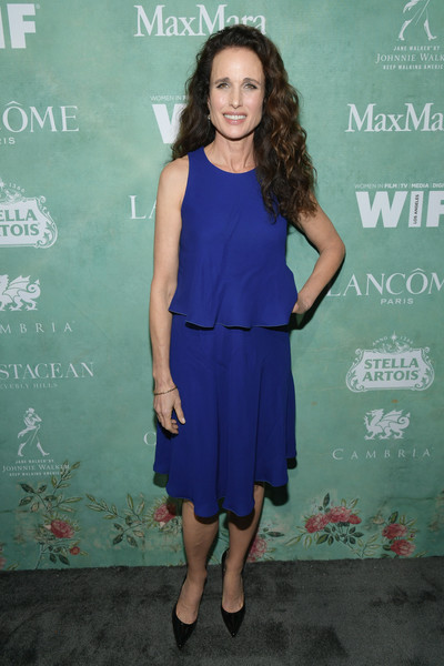 Andie MacDowell Knee Length Skirt [women in film pre-oscar cocktail party,clothing,dress,cocktail dress,electric blue,cobalt blue,shoulder,fashion,premiere,long hair,fashion design,11th annual women in film pre-oscar cocktail party,stella artois,johnnie walker,andie macdowell,support,crustacean beverly hills,max mara,lancome,red carpet]