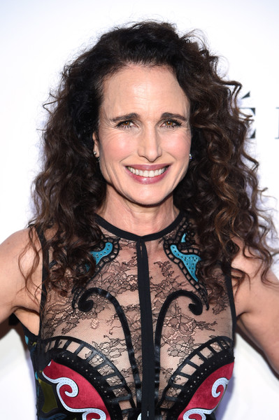 Andie MacDowell Long Curls [hair,beauty,hairstyle,fashion model,long hair,black hair,brown hair,product,smile,hair coloring,andie macdowell,cocktail,new york city,glamour women of the year awards: women rise - arrivals]