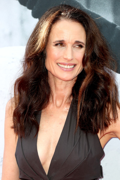 Andie MacDowell Long Wavy Cut [hair,hairstyle,brown hair,long hair,eyebrow,beauty,chin,lip,layered hair,smile,california,hollywood,dolby theatre,american film institutes 45th life achievement award gala tribute,andie macdowell,diane keaton - arrivals,diane keaton]