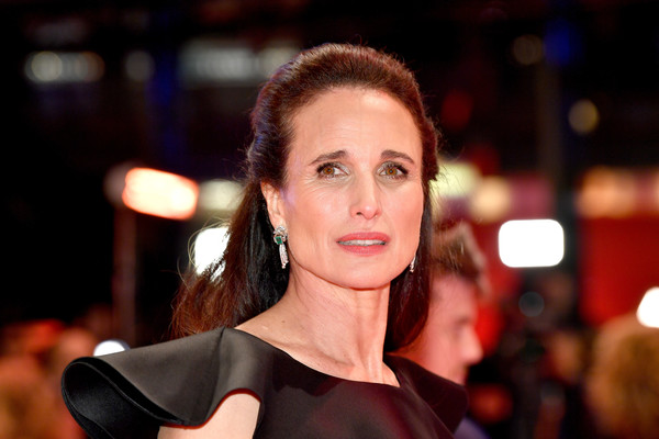 Andie MacDowell Half Up Half Down [the kindness of strangers,hair,hairstyle,beauty,lip,fashion,cheek,brown hair,model,event,dress,andie macdowell,berlinale palace,berlin,germany,opening ceremony,berlinale international film festival,premiere,berlinale international film festival berlin]