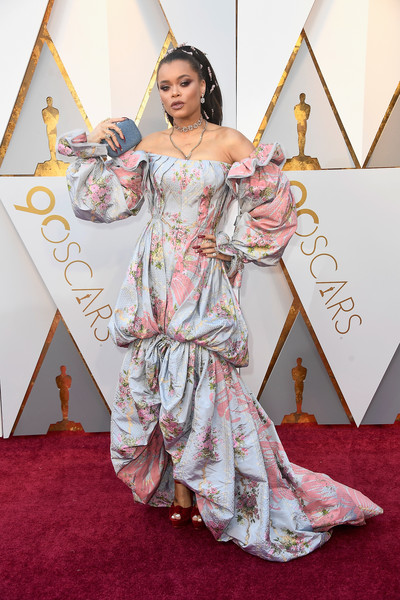Andra Day Off-the-Shoulder Dress [red carpet,clothing,carpet,flooring,peach,dress,fashion,costume,fashion design,costume design,arrivals,andra day,academy awards,hollywood highland center,california,90th annual academy awards]