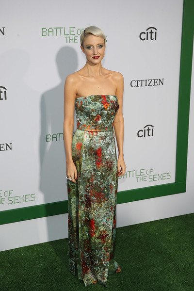 Andrea Riseborough Strapless Dress