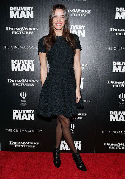 Angela Bellotte Lace Up Boots [clothing,dress,little black dress,cocktail dress,fashion model,premiere,carpet,fashion,footwear,red carpet,arrivals,angela bellotte,delivery man,screening,new york city,dreamworks pictures and the cinema society host a screening of ``delivery man,dreamworks pictures,the cinema society,paley center for media]