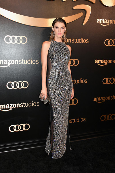 Angela Lindvall Beaded Dress [flooring,dress,fashion model,beauty,shoulder,gown,fashion,carpet,cocktail dress,joint,arrivals,angela lindvall,beverly hills,california,the beverly hilton hotel,amazon studios,amazon studios golden globes celebration]