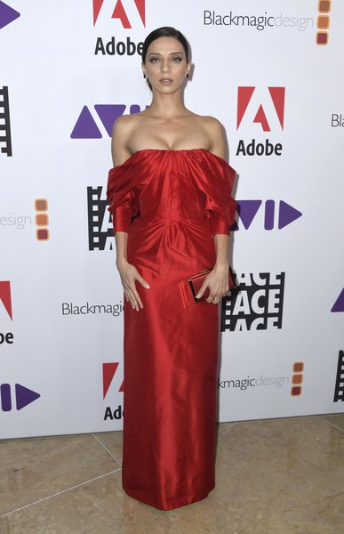 Angela Sarafyan Off-the-Shoulder Dress [clothing,dress,shoulder,red carpet,carpet,red,fashion model,cocktail dress,premiere,joint,arrivals,ace,angela sarafyan,eddie awards,the beverly hilton hotel,beverly hills,california]