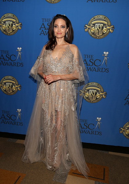 Angelina Jolie Beaded Dress [american society of cinematographers awards,flooring,beauty,gown,lady,formal wear,carpet,dress,shoulder,fashion,red carpet,hollywood highland center,the ray dolby ballroom,california,angelina jolie,actor]