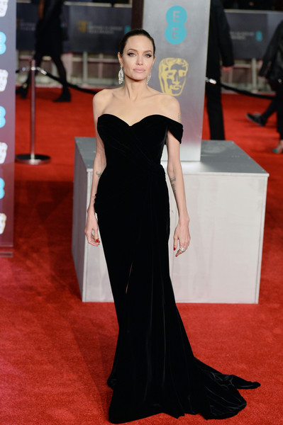 Angelina Jolie Off-the-Shoulder Dress [flooring,fashion model,gown,carpet,red carpet,shoulder,dress,fashion,joint,haute couture,red carpet arrivals,angelina jolie,ee,england,london,royal albert hall,british academy film awards]