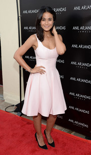 Emmanuelle Chriqui attended the Anil Arjandas Jewels flagship store opening looking sweet in a pale pink fit-and-flare dress.