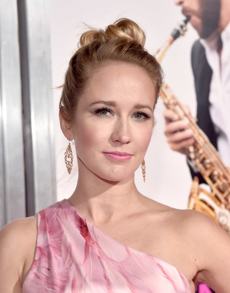 Anna Camp Hair Knot [isnt it romantic,hair,face,hairstyle,eyebrow,lip,skin,beauty,chin,shoulder,pink,anna camp,ace hotel,california,los angeles,the theatre,warner bros. pictures,red carpet,world premiere]