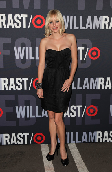 Anna Faris Platform Pumps [william rast celebrate the launch of their limited edition collection,limited edition collection,dress,clothing,cocktail dress,shoulder,little black dress,premiere,strapless dress,joint,footwear,fashion model,anna faris,william rast,california,los angeles,factory place,target,launch,shopping event]