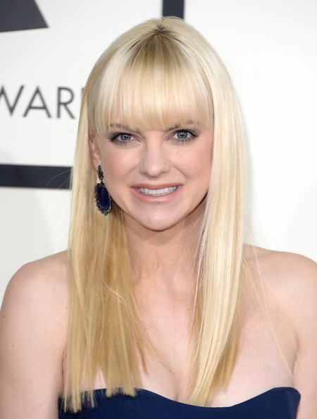 Anna Faris Long Straight Cut with Bangs [hair,blond,face,hairstyle,long hair,chin,eyebrow,bangs,beauty,hair coloring,arrivals,anna faris,56th grammy awards,staples center,los angeles,california]