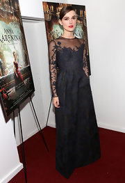 Keira epitomized romance in this black brocade gown at the NY premiere of 'Anna Karenina.'