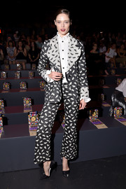 Coco Rocha looked funky in a monochrome cat-print pantsuit by Anna Sui while attending the brand's fashion show.