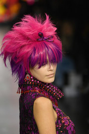 Kaia Gerber rocked an anime-inspired fuchsia and purple wig at the Anna Sui runway show.