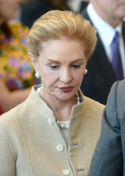 Carolina Herrera wore a simple brushed-back hairstyle at the Anna Wintour Costume Center grand opening.