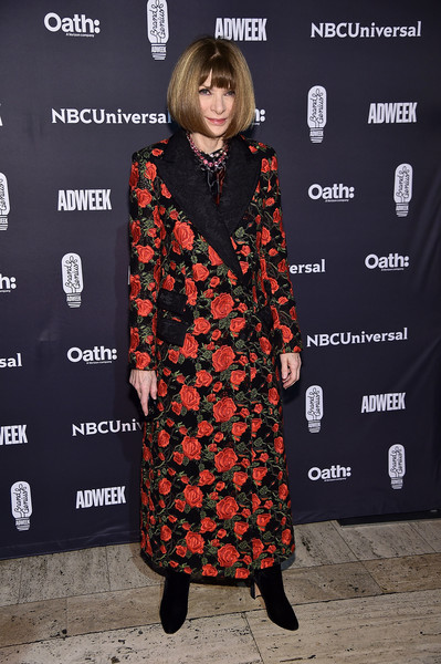 Anna Wintour Evening Coat [clothing,fashion,hairstyle,dress,premiere,outerwear,carpet,footwear,fashion design,street fashion,cipriani 25 broadway,new york city,brand genius awards,anna wintour]
