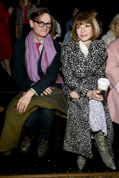 Anna Wintour Printed Coat [event,fashion,fun,vision care,anna wintour,hamish bowles,front row,new york city,cipriani wall street,l,michael kors collection fall 2019 runway show]