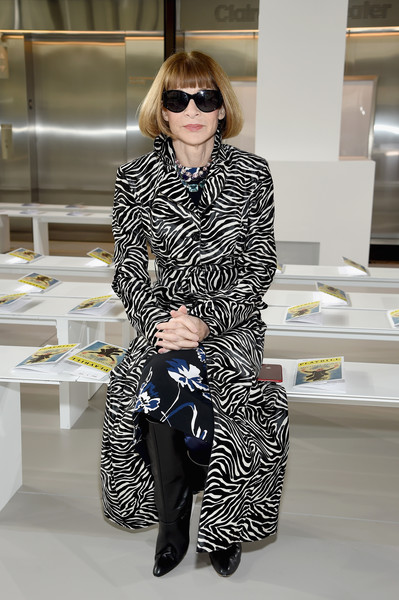 Anna Wintour Printed Coat [michael kors collection fall 2018 runway show,eyewear,fashion model,vision care,fashion,coat,sunglasses,outerwear,fur,girl,haute couture,anna wintour,front row,new york city,lincoln center,vivian beaumont theatre]