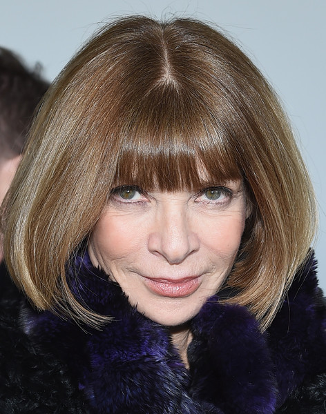 Anna Wintour Bob [hair,face,hairstyle,bangs,eyebrow,chin,blond,hair coloring,layered hair,lip,anna wintour,editor-in-chief,front row,american,new york city,calvin klein collection,spring studios,mercedes-benz fashion week,fashion show]