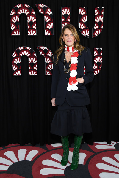 Anna dello Russo Lace Up Boots [performance,event,talent show,christmas,anna dello russo,miu miu,part,paris,france,paris fashion week womenswear fall,photocall - paris fashion week womenswear fall,fashion,carpet,uniform,socialite,outerwear]