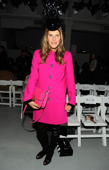 Anna dello Russo Wool Coat [clothing,pink,fashion,coat,outerwear,fashion show,overcoat,footwear,trench coat,fashion design,anna dello russo,rodarte - front row,new york city,mercedes-benz fashion week,fashion show]