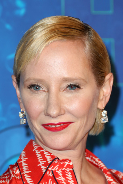 Anne Heche Side Parted Straight Cut [hair,face,hairstyle,lip,eyebrow,chin,blond,head,forehead,nose,arrivals,anne heche,emmy,post emmy awards,the plaza,los angeles,california,pacific design center,hbo,reception]