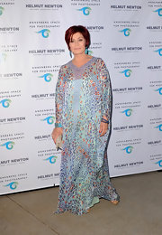 Sharon's long and flowing printed dress gave the 'X Factor' judge a soft bohemian look.