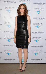 Mandy Moore rocked a sleek sleeveless black leather dress at the 'Helmut Newton: White Women - Sleepless Nights - Big Nudes' opening.