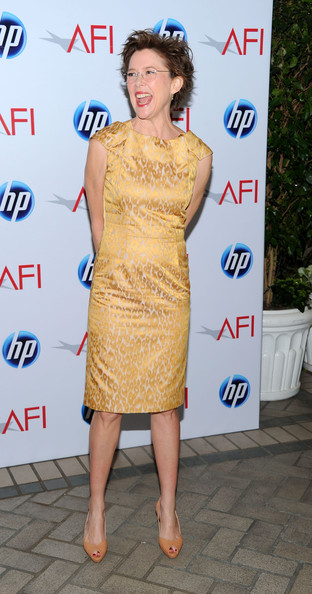 Annette Bening Print Dress [dress,clothing,cocktail dress,fashion model,yellow,hairstyle,shoulder,fashion,premiere,footwear,arrivals,annette bening,eleventh annual afi awards,four seasons hotel,los angeles,california,afi awards]