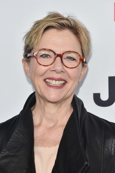 Annette Bening Boy Cut [eyewear,hair,face,glasses,hairstyle,chin,forehead,smile,blond,vision care,arrivals,nominees,annette bening,west hollywood,california,boa steakhouse,film independent filmmaker grant and spirit award,brunch]