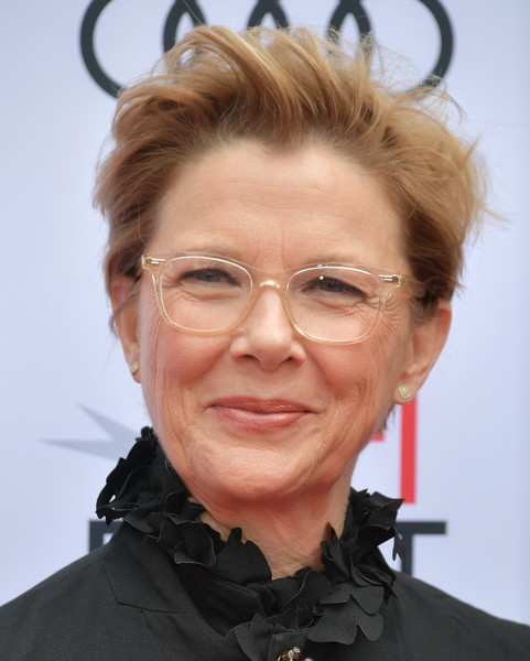 Annette Bening Messy Cut [audi - screening of ``film stars dont die in liverpool,hair,face,hairstyle,eyewear,glasses,chin,head,forehead,wrinkle,vision care,arrivals,annette bening,screening,tcl chinese theatre,california,hollywood,afi fest,audi]