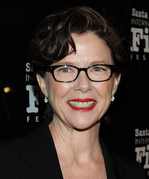 Annette Bening Short Side Part [excellence in film,eyewear,hair,glasses,face,eyebrow,hairstyle,lip,chin,nose,forehead,annette bening,michael douglas,kirk douglas award for excellence in film,california,santa barbara,sbiff,biltmore four seasons]