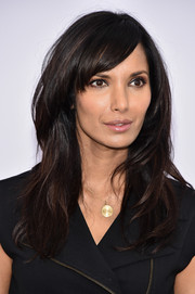 Padma Lakshmi was fabulously coiffed with layered waves and side-swept bangs during the New York premiere of 'Annie.'