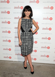 Hilaria Baldwin chose a sleeveless black-and-white sheath dress for the Annie for Target launch.