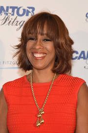 Gayle King looked chic with her layered razor cut at the Cantor Fitzgerald Charity Day.