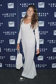 Stella Schnabel went out to see the 'Another Earth' premiere wearing a long-sleeve maxi dress.