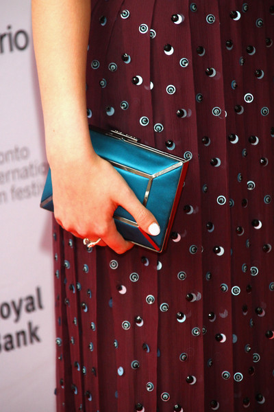 Anya Taylor-Joy Satin Clutch [the witch,pattern,red,polka dot,pink,design,dress,magenta,textile,electric blue,anya taylor-joy,photo call,detail,ryerson theatre,toronto,canada,toronto international film festival,premiere]