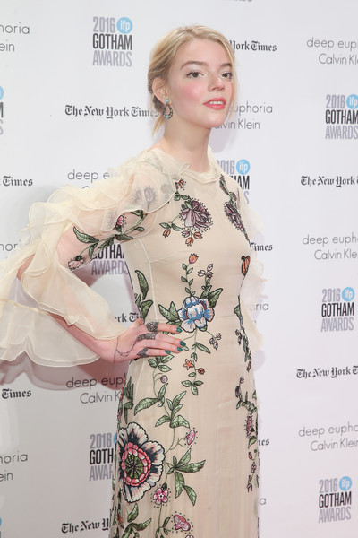 Anya Taylor-Joy Statement Ring [red carpet,hair,clothing,hairstyle,dress,beauty,lady,fashion,fashion design,long hair,pattern,anya taylor-joy,new york city,wall street,ifp,cipriani,26th annual gotham independent film awards]