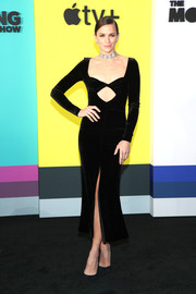 Shantel VanSanten went for sexy elegance in a black cutout velvet dress by Alessandra Rich at the world premiere of Apple TV+'s 'The Morning Show.'