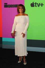 Gayle King attended the world premiere of Apple TV+'s 'The Morning Show' wearing a stylish cream off-the-shoulder dress.