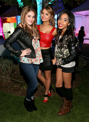 Teala Dunn chose a camo track jacket with black leather sleeves for the Aquafina FlavorSplash launch.